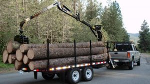 AM Machinery log logging timber trailer with JMS 190 grapple