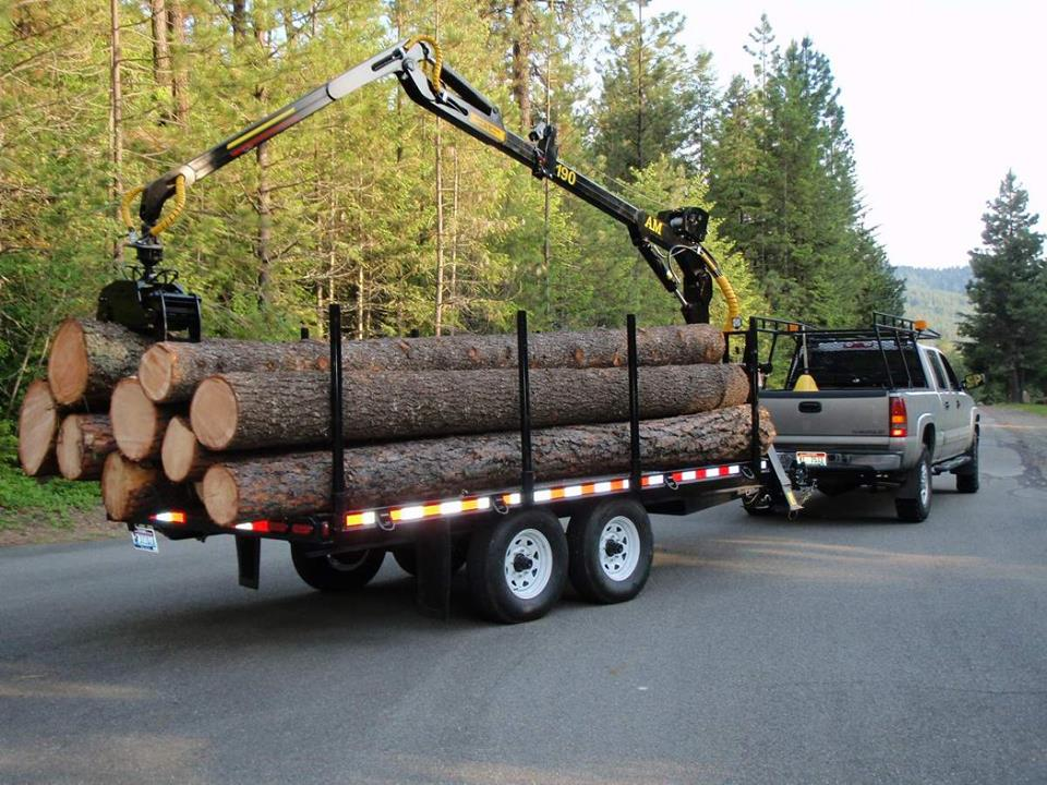 log loader firewood trailer with grapple