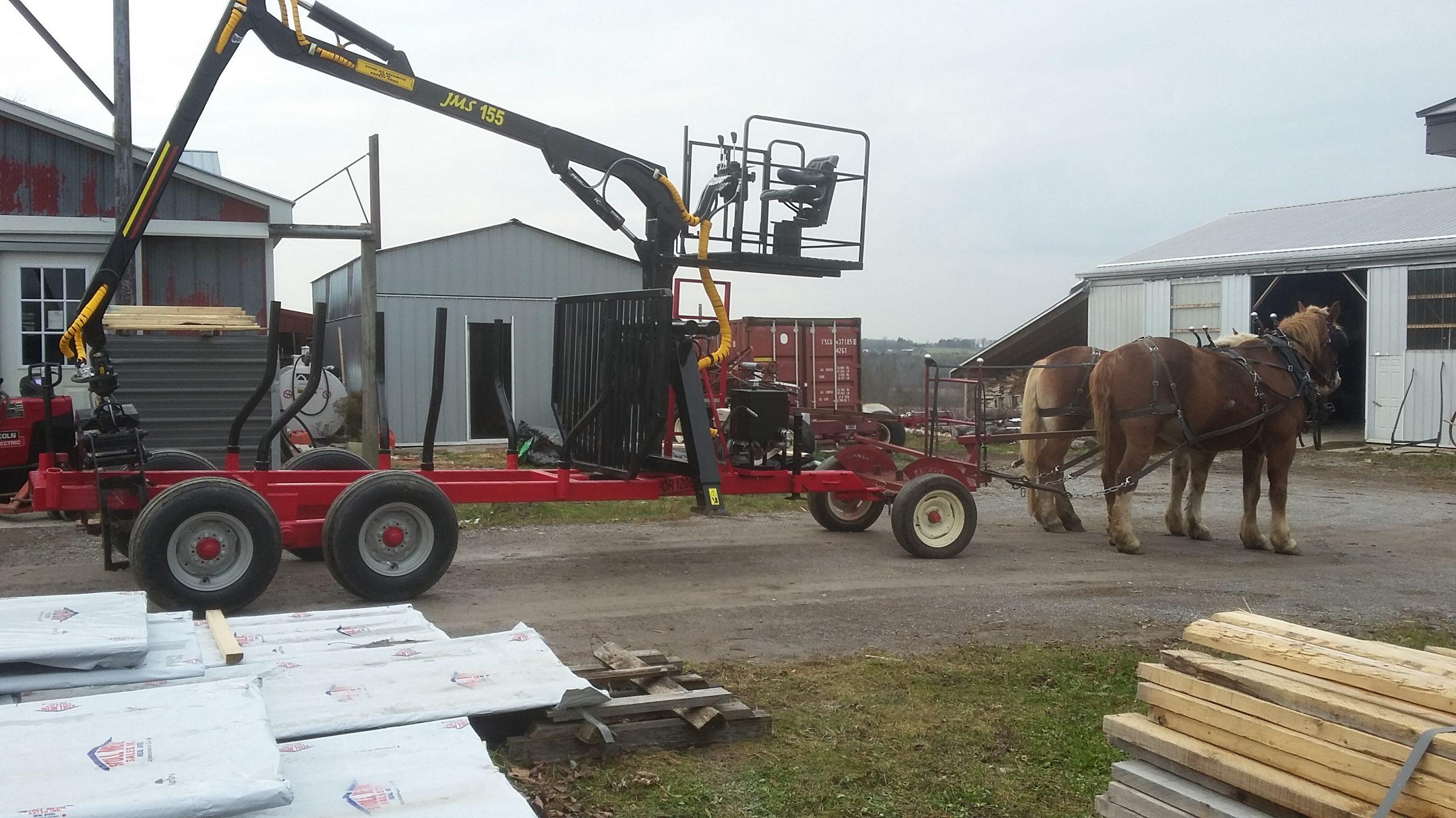 horse drawn AM machinery log loader trailer