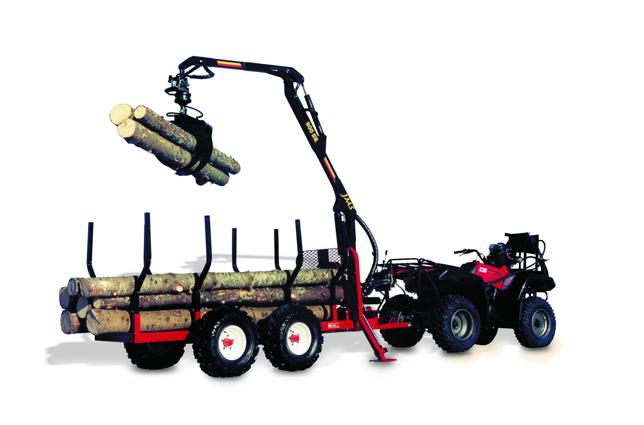AM Machinery 900R ATV log trailer with JMS log loader