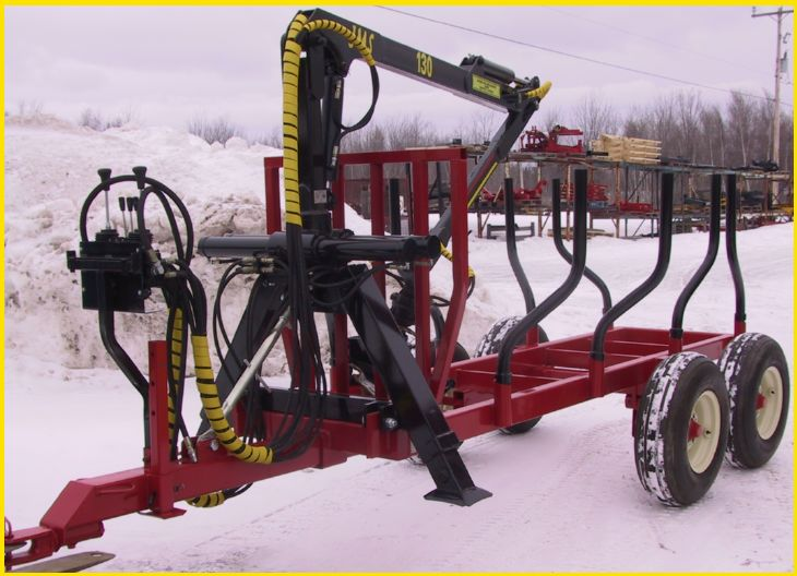AM Machinery timber trailer FOR1205 with JMS 130 log loader