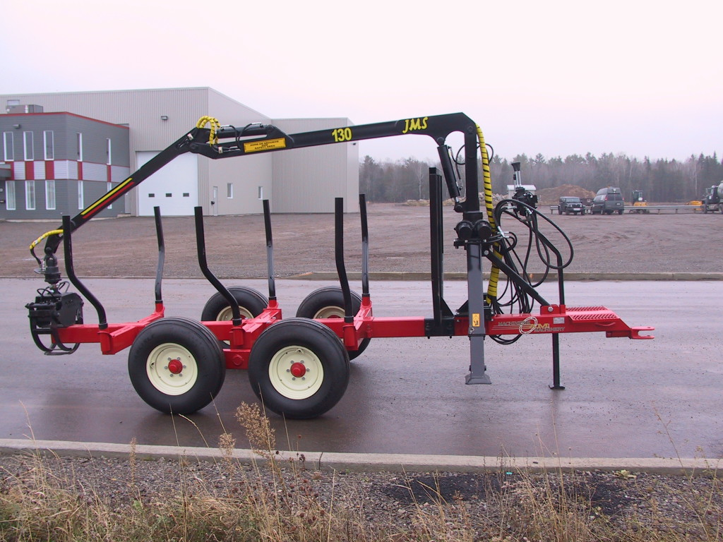 AM Machinery log trailer timber trailer with JMS 130 grapple