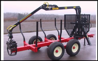 JMS 130 log loader on AM Machinery log timber trailer