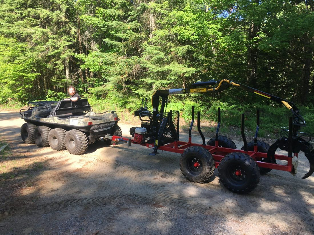 900r atv argo small tractor forestry log loader trailer with grapple