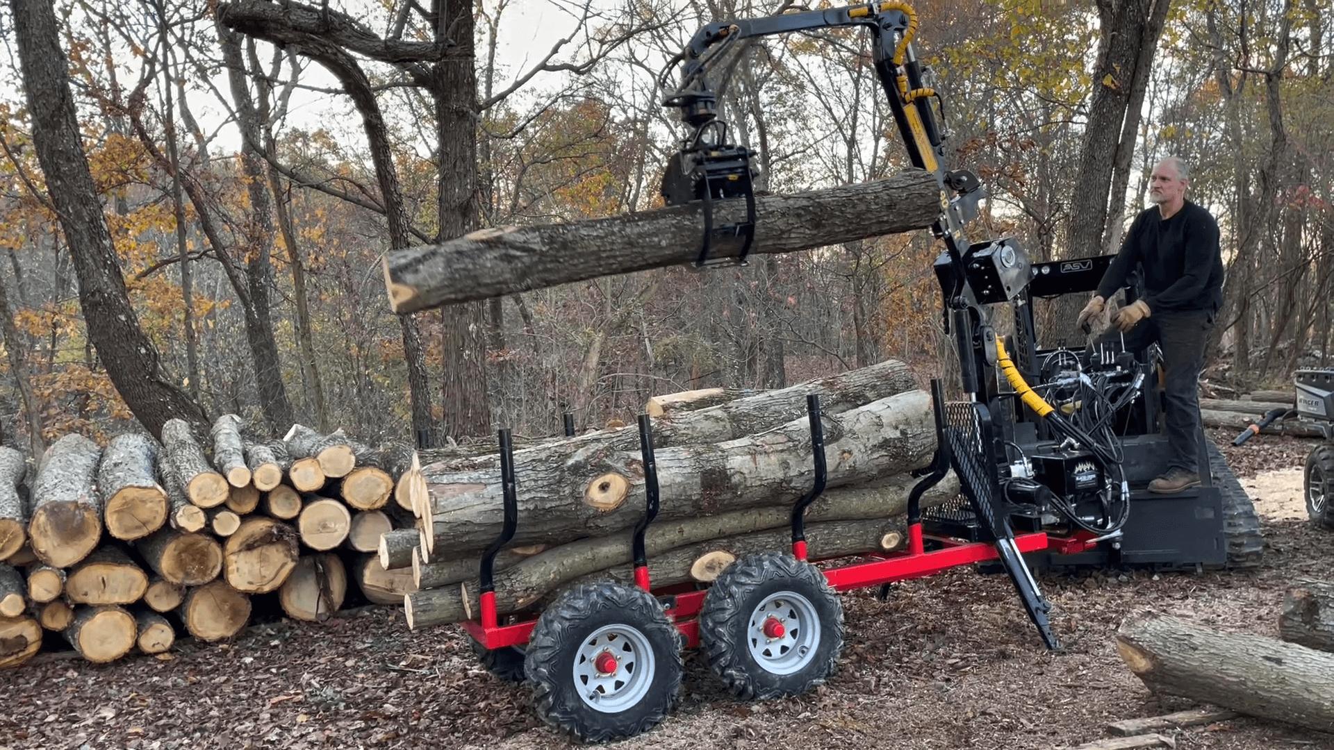 900R ATV logging forestry trailer 900SR loader loader with winch loading logs